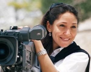 Haifaa al-Mansour on set.
